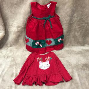 5/$25--2 Piece lot dress Shirt Girls 2T Christmas
